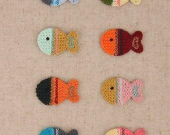 Big Sale---8Pcs 25mm x 35mm Appliques,Scrapbooking,Colorful Fish,Lovely,Decoration,Diy,Sewing(ST21)