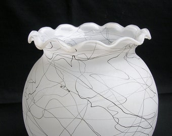 Mid Century White Frosted Vase with Black String Design and Ruffled Top