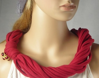 Multi Strand Infinity Scarf Necklace with Italian button - Jersey Circle Scarves - Fashion necklace - Red  - Gift-  wine