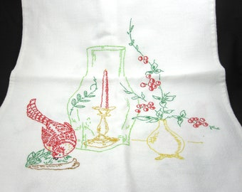 Vintage Dresser Scarf -- Embroidered Linen with Bird, Candle, Flowers