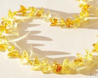 Baltic Amber Half Moon Lemon - Honey Necklace.