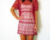 SALE Vintage SHEER DECO Dress Pink Scalloped Medium Large 80s Mini Lace Peacock Print