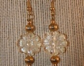 40% OFF ON SALE Pineapple Quartz Flower and Gold Bead Drop Earrings
