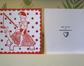Handprinted christmas card with glitter, red on white card with boy riding tortoise, christmas cracker