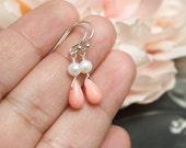 Coral and pearl earrings, Short dangles, Coral earrings, Bridesmaids gifts, Simple earrings, Beach wedding