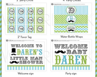 Little Man Mustache Baby Shower Package Personalized FULL Collection Set - PRINTABLE DIY - BS829CA3x