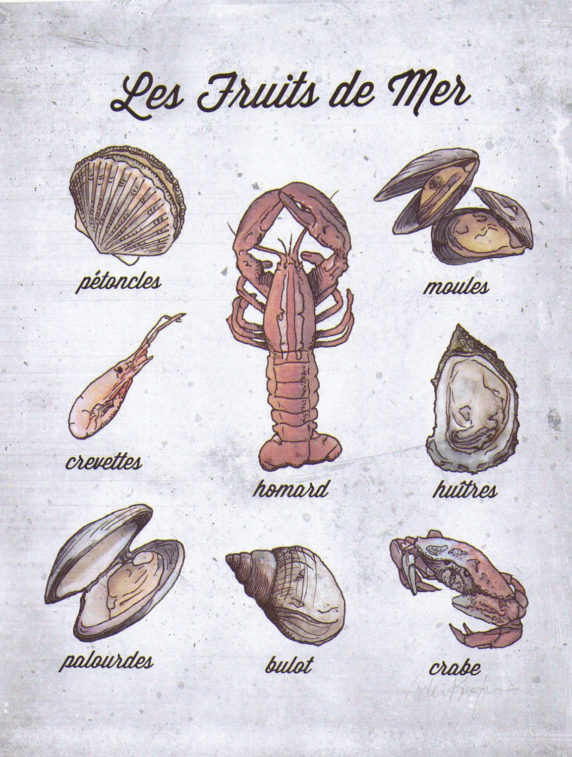 French language food poster shell fish les by for 17th century french cuisine