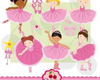 Little Ballerina Digital Clipart Set for -Personal and Commercial Use-paper crafts,card making,scrapbooking,web design