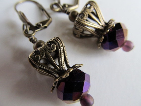 Royal Crown Jewels-  Amethyst Purple Crystal Antique Brass Filigree earrings
