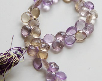 """AAA Ametrine Faceted Heart Briolettes - 4.25"""" Strand"""