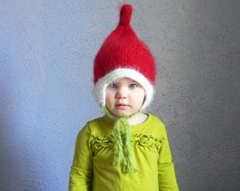 Elf hat costume, adult elf hat or Cindy Lou Who hat, pixie hat with strings for kids christmas