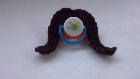 Crochet Brown Cowboy Stashifier - Mustache Pacifier - Baby Stash