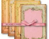 Digital Collage Sheet Download - Shabby Chic Border Backgrounds -  500  - Digital Paper - Instant Download Printables