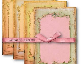 Digital Images - Digital Collage Sheet Download - Shabby Chic Border Backgrounds -  500  - Digital Paper - Instant Download Printables