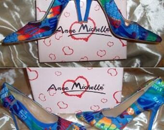 Anne Michelle Blue Multicolored Graffiti Pointed Toe Stilettos 7