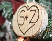 Sweetheart Heart Love Ornament, Rustic Custom 'Tree Carved' Initials, Eco Friendly, White Birch Bark, Natural, Minimalist Style