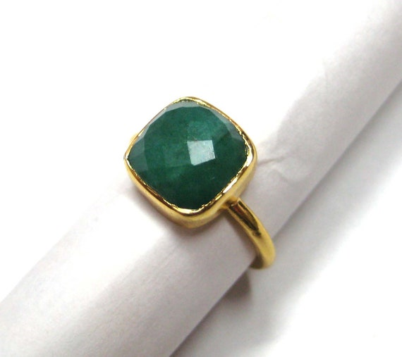 24kt. Gold Plated 925 Sterling Silver Ring Studded Chekker Cut Faceted Emerald , Calibrated size emerald cushion shape stone stackable ring
