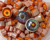 Wild Eye Murrini, 104coe silver glass - purple blue orange yellow lampwork art glass - GBUK SRA