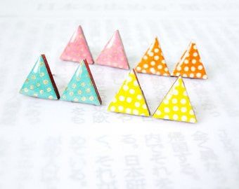 Triangle Earrings, Pastel, Polka dots, Japanese Yuzen Chiyogami Washi, Origami Paper, Decoupage, Turquoise, Pink, Yellow, Orange