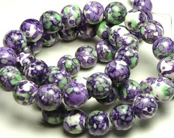 4mm Rain Flower Stone Ocean Jade Round Gemstone Beads - 15.5 Inch Strand - Purple, Violet, Green - BB5