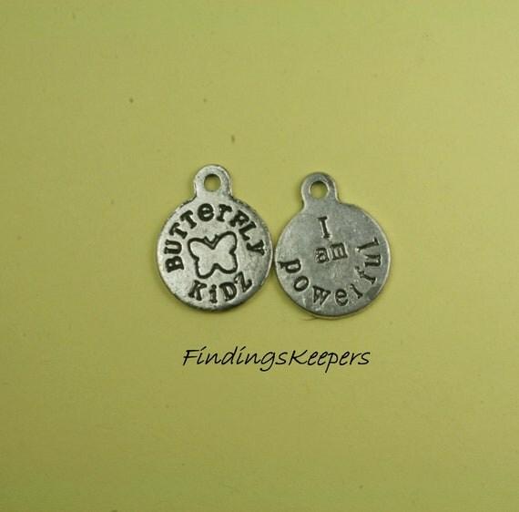 Butterfly Charm 6 I Am Powerful  Word Charms Tibetan Silver 17 x 15 mm - ts049-1