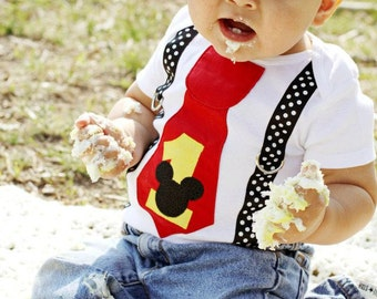 Mickey Mouse First Birthday Outfit, Mickey 1st Birthday Outfit, Cake Smash Outfit, Boys Bodysuit, Baby Boy Clothes One Piece Outfit