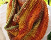 Noro Wool Hand Knit Cowl Autumn Fall Colors