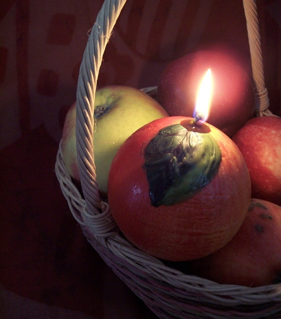 Fruit Candle - Red Apple - Sweet Apple Scented Candle - Hand Painted Candle Ball - Funny Fruit Decor - Quirky Food Candle - Summer Candle