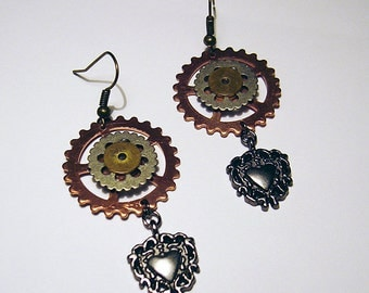 Heart of the Machine - Copper, Brass and Gunmetal Steampunk Earrings