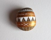 Taos Geometric Stone - Painted Stone - Original Hand-Painted Stone - Rock Art