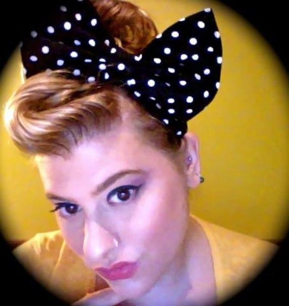Hey Lucy-Big Bow Headband-Pinup- Polkadot- Black and White-Stretchy Wide- Sliding Big Bow