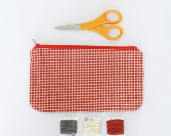 white and red checkered pattern clutch - cosmetics case, pencil case, purse organizer - back to school - art supply case