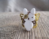 Steampunk Pirate Ivory & Gold Bunnyfly Ring (r019)