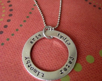 Hand stamped personalized washer style necklace with names or words.  Great for mothers, gifts, friends or yourself.
