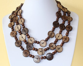 Ethnic Coconut Shell Necklace. Handmade. Extra Long Length Lariat. Colorful Coco Wood Beads. Brown Color Necklace.  MapenziGems CN05