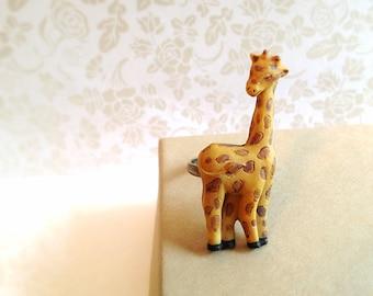 Miniature Giraffe Ring. Wildlife. Safari. Miniature Animal. Unique Animal Ring. Adjustable Ring. Wild. Small Animal. Brown. Tan. 10 Dollars.