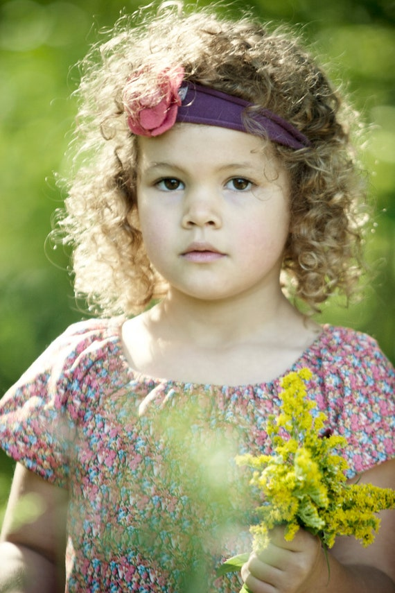 Felted Pink Wool Flower Headband for Baby Girl