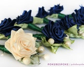 Ribbon Rose Boutonniere Navy and Cream - Made to Order