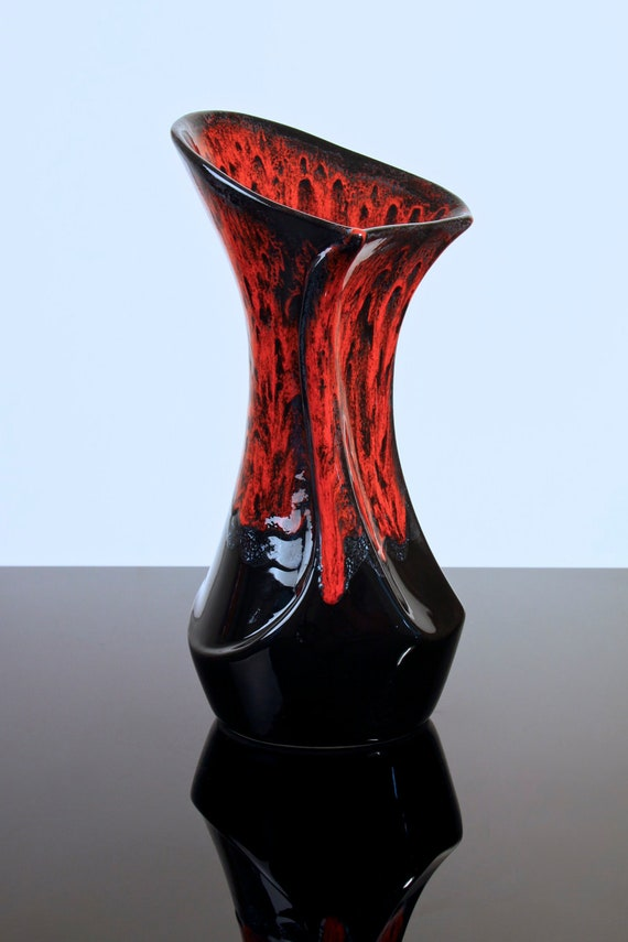 Vallauris France Studio Pottery Vase with Fat Lava style Drip Glaze Red and Black Picasso Capron Era Retro Vintage 1960's