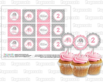 Printable DIY Pink and Grey Elephant Theme Personalized Happy Birthday Cupcake Toppers