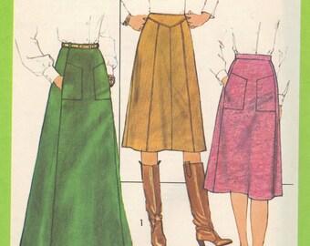 Simplicity Retro 70s Sewing Pattern Maxi Midi Paneled Skirt Waistband Back Zipper Uncut FF Waist 26