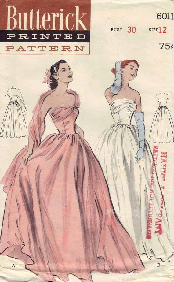 1950s Ball Gown Butterick Sewing Pattern By