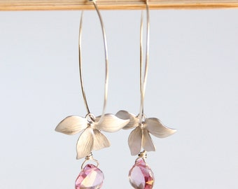Gemstone Hoop Earrings, Sterling Silver, Pink Quartz, Orchid, Dangle