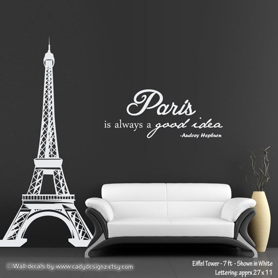 Eiffel Tower Wall Decal With Audrey Hepburn Quote Paris Is
