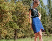 Womens Navy Blue Floral Skirt With Red Trim. (Price Reduced).