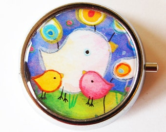 Bird, Pill Box, Pill Case, Pill Container, Bird, Gift for her, Candy container, mint case, bright colors, gift for mom, abstract (1387)