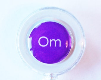 Meditation, ID Badge Holder, Retractable id, Badge clip, Name Tag, id badge clip, purple, calm, om (1756)