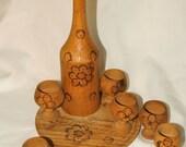 Vintage Hand Made Wooden Barware Set - decanter, tray 6 glasses, sake, wine, hand crafted, unique gift, wood burning, primitive art