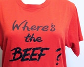 Classic 1980s Vintage Where's the Beef Tshirt - 1980s Retro - Size M/L