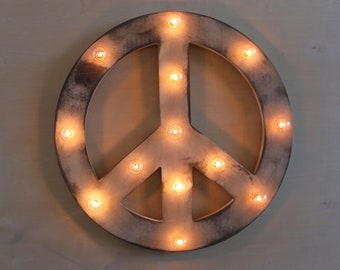 "24"" Peace Vintage Marquee Lighted Wood"